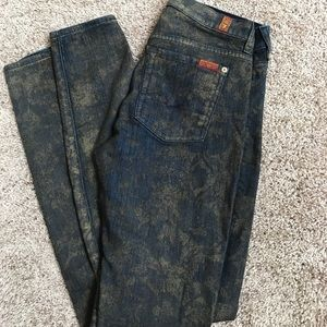 7 For All Mankind Skinny Jeans with Gold Detail