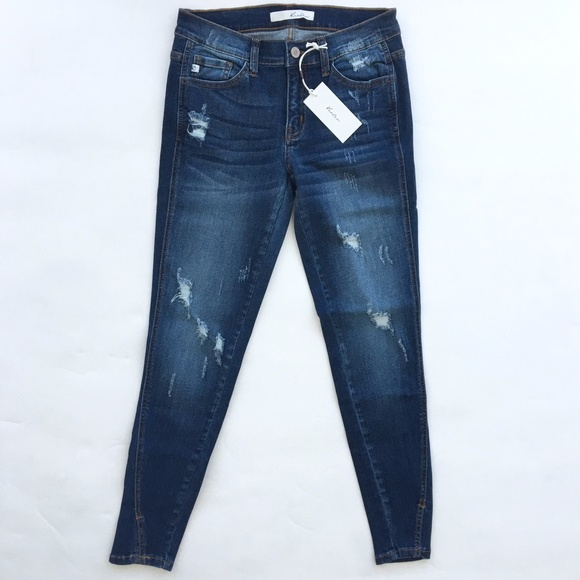RGL Collection Jeans - Distressed Skinny Jeans With Notched Ankle
