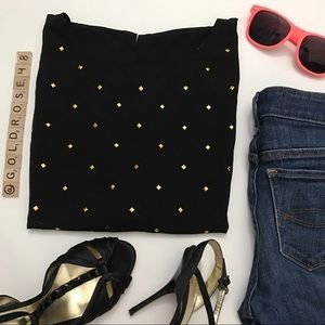 Forever 21 black cropped shirt with gold studs