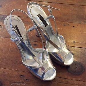 Burberry Size 9 Silver Metallic Platform Heels