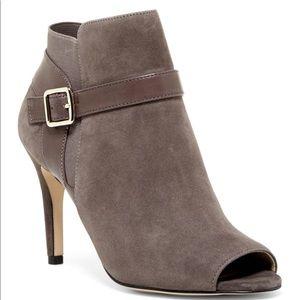 New Marc Fisher Grey Suede Peep Toe Heels