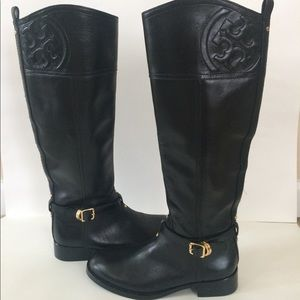 New Tory Burch Marlene Black Leather Boots 5