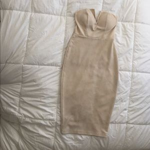 Charlotte Russe Cream Midi Bodycon Dress