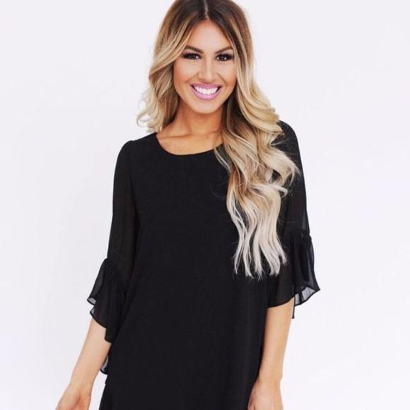 6bbc8d7ae6f5e Dottie Couture Boutique Dresses   Skirts - Dottie Couture Black Chiffon  Ruffled Sleeve Dress