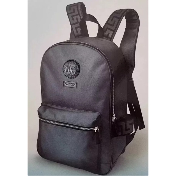 2f0db3bcce Versace Gray Medusa Logo Backpack 100% Authentic NWT