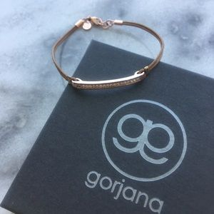 Gorjana Jewelry - Gorjana Aphrodite Crystal Bar + Leather Bracelet