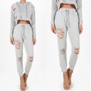Pants - Distressed Grey Joggers.