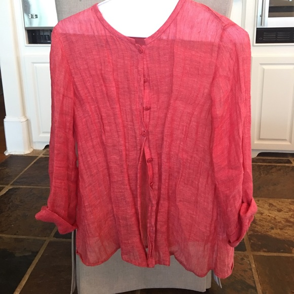75 off eileen fisher tops eileen fisher coral gauze for Gauze button down shirt