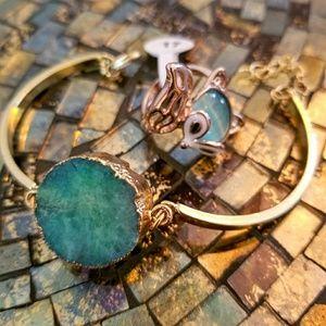Accessories - 🌞Stylish Green & Gold Chunky Bangle Bracelet🌞