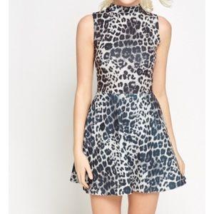Dresses & Skirts - High neck animal print skater dress