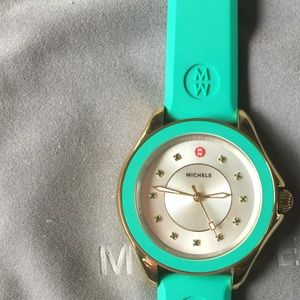 Authentic Michele Silicone Strap Watch. Green
