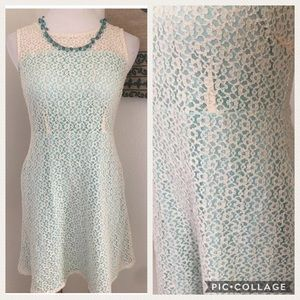 Tulle Lace Illusion A-line Dress in Mint & Cream