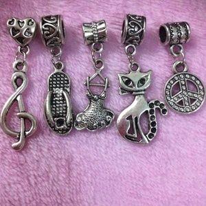 Jewelry - Music tone, dress, sandal, kitty, peace charm set