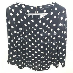 ZARA black white 3/4 sleeve polka dot top medium