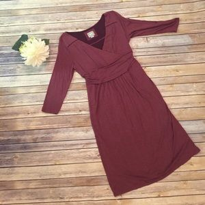 Anthropologie Maeve Maroon Dress