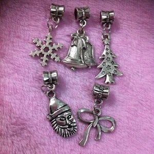 Jewelry - Santa claus, snowflake, christmas tree charm set