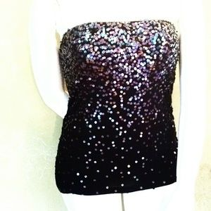 ✨Express✨ L, Oil Slick Sequin Ombre Strapless Top