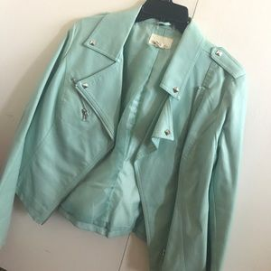M Forever 21 Mint Green Faux Leather Jacket