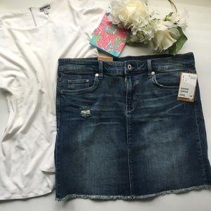 H&M // Raw Edge Denim Skirt - dark wash