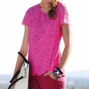 JCrew Factory Scalloped Lace Tee Pink Size 6