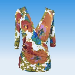 CAbi 309 Wrap Half Sleeve Floral Blouse Size Small