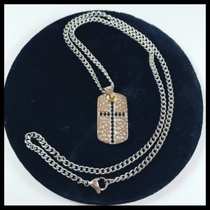 Stainless steel turnish free black cz cross chain