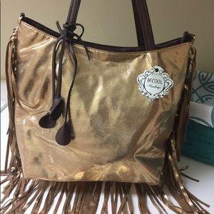 Bronze Metallic Fringed Handbag VIVA LAS VEGAS!