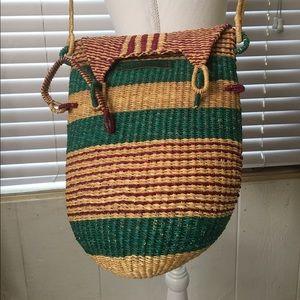 Bolga woven grass purse