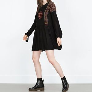 Trafaluc Black Long-sleeve Peasant Dress