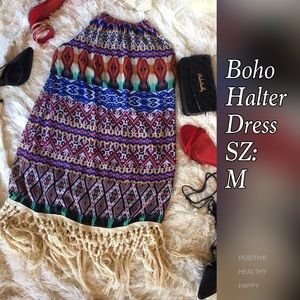 Halter Boho Style Fringe Dress