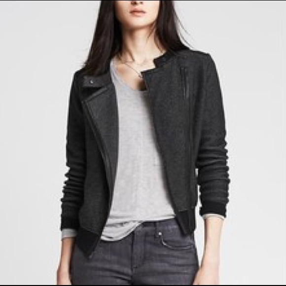 great fit sale retailer latest collection Banana Republic Faux Leather Trim Moto Jacket