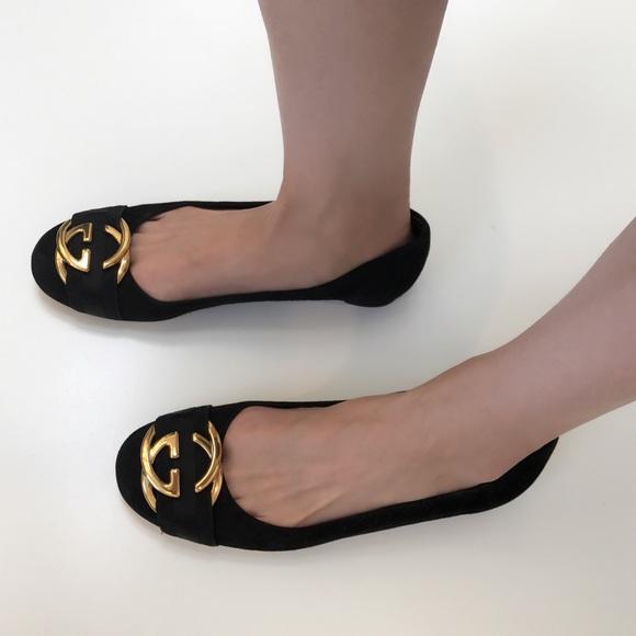 c27e00df4 Gucci Shoes | Logo Suede Ballet Flats | Poshmark