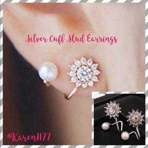 Jewelry - Just In💎 Silver & Faux Pearls Cuff stud earrings