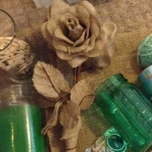 Other - Five Burlap Flowers (5)