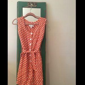 Retro Vintage Peach Polka Dot Romper