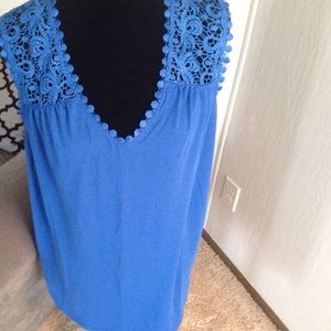 "Blue crochet shoulder tank top. 31"" long.   NWOT"
