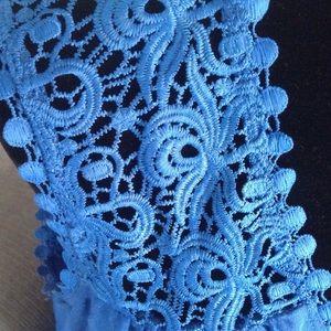 "FADED GLORY Tops - Blue crochet shoulder tank top. 31"" long.   NWOT"