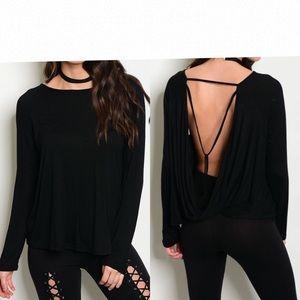 Tops - Black Open Drape Back Top