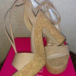 Jaliyah Cork Wedge Sandal Natural Sand Ankle Wrap