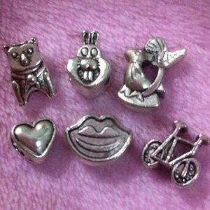 Jewelry - Teddy bear, bunny, bird, lip, bicycle charm set