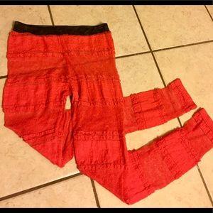 Pants - Coral Patterned Leggings