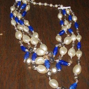 Four strand blue glass 1950s necklace