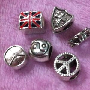 Jewelry - London flag, Christ Shield, peace sign charm set