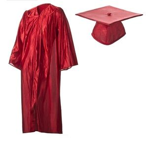 Other - Shiny Red Graduation Cap & Gown