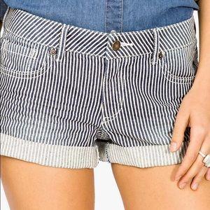 Forever 21 Railroad Cuffed Striped Denim Shorts
