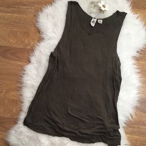 Urban Outfitters Oversized Olive Green Marled Tank