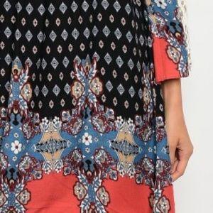 Ganji Los Angeles Dresses - Black & Rust Tribal Tie Back Cold Shoulder Dress