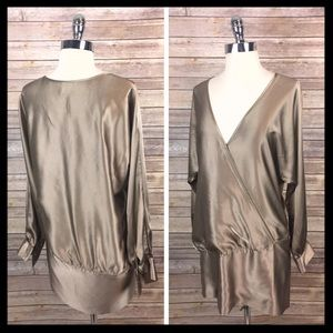 haute hippie // dolman sleeve gold silk wrap dress