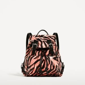 Zara Animal Print Leather Backpack