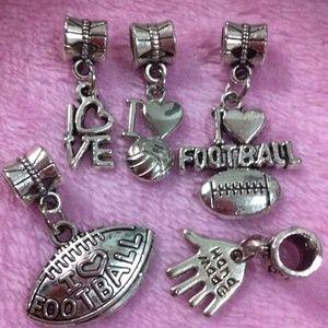 Jewelry - Handmade i Love football European Silver charm